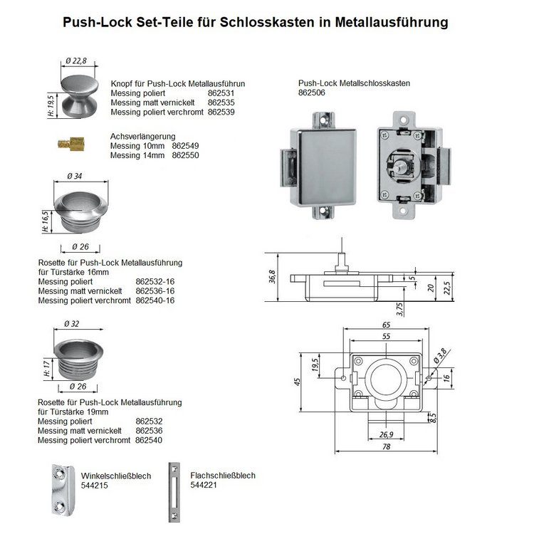 Push Lock Rosette, Messing matt vernickelt