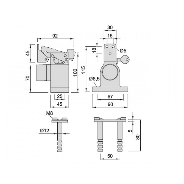 t rfeststeller f r schwere t ren 100 kg alu. Black Bedroom Furniture Sets. Home Design Ideas
