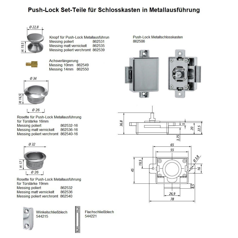 verchromt Push-Lock-Schloss Set 19 mm in Profiqualität! Messing massiv